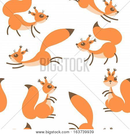 Little cute squirrels. Seamless pattern for gift wrapping, wallpaper, childrens room or clothing. Vector illustration