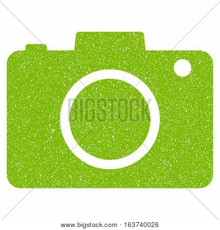 Photo Camera grainy textured icon for overlay watermark stamps. Flat symbol with dust texture. Dotted vector light green ink rubber seal stamp with grunge design on a white background.