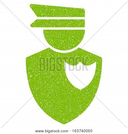 Policeman grainy textured icon for overlay watermark stamps. Flat symbol with dust texture. Dotted vector light green ink rubber seal stamp with grunge design on a white background.