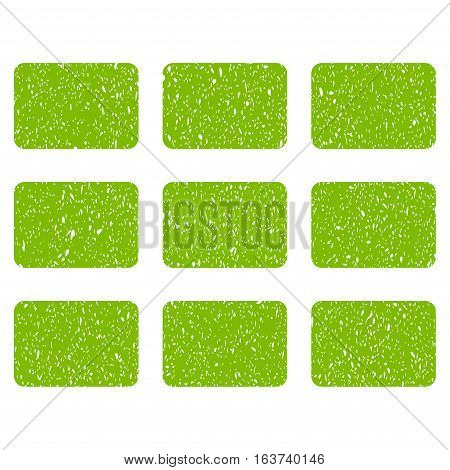 Rectangles Grid grainy textured icon for overlay watermark stamps. Flat symbol with dust texture. Dotted vector light green ink rubber seal stamp with grunge design on a white background.