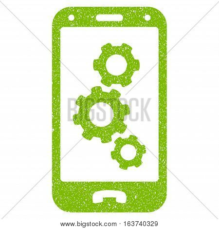 Smartphone Settings grainy textured icon for overlay watermark stamps. Flat symbol with dust texture. Dotted vector light green ink rubber seal stamp with grunge design on a white background.