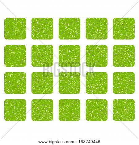 Square Grid grainy textured icon for overlay watermark stamps. Flat symbol with scratched texture. Dotted vector light green ink rubber seal stamp with grunge design on a white background.