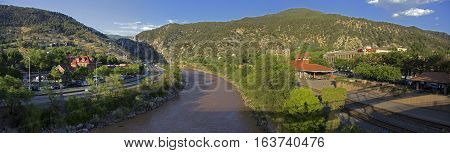Panoramic of the Colorado River in Glenwood Springs Colorado.