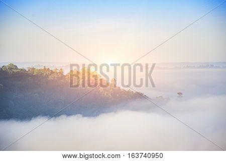 sunrise back mountain in fog and flare