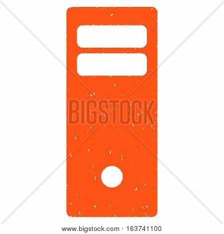 Computer Mainframe grainy textured icon for overlay watermark stamps. Flat symbol with unclean texture. Dotted vector orange ink rubber seal stamp with grunge design on a white background.