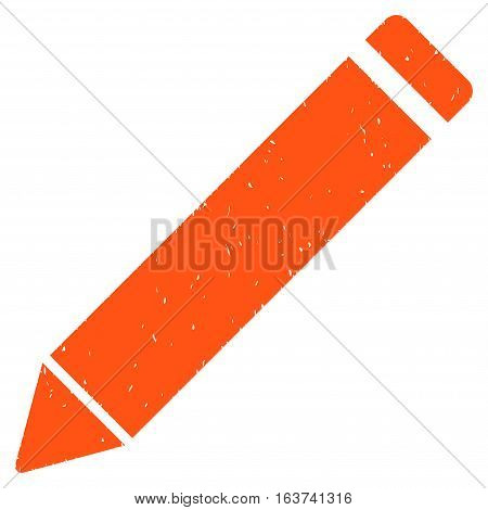 Edit Pencil grainy textured icon for overlay watermark stamps. Flat symbol with dust texture. Dotted vector orange ink rubber seal stamp with grunge design on a white background.