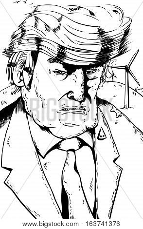 Outline Cartoon Of Trump With Wind Turbines