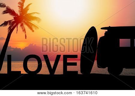 silhouette vintage car in the beach with a surfboard on the roof.text for Background Love.