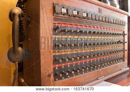Antique Vintage Telephone Switch Board, Telecommunication Wood Box. Old Telecommunication Concept.