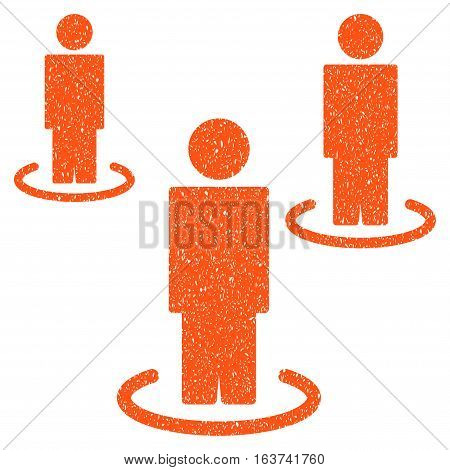 Isolated People grainy textured icon for overlay watermark stamps. Flat symbol with dust texture. Dotted vector orange ink rubber seal stamp with grunge design on a white background.