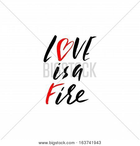Hand lettered inspirational quote. Love is a fire. Hand brushed ink lettering. Modern brush calligraphy. Vector illustration
