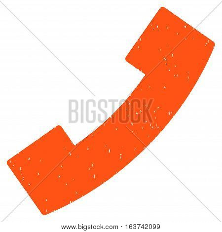Phone Receiver grainy textured icon for overlay watermark stamps. Flat symbol with dust texture. Dotted vector orange ink rubber seal stamp with grunge design on a white background.