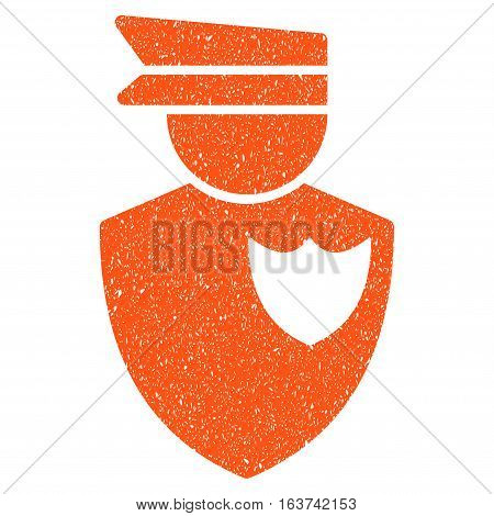 Policeman grainy textured icon for overlay watermark stamps. Flat symbol with dirty texture. Dotted vector orange ink rubber seal stamp with grunge design on a white background.