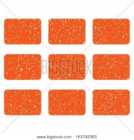 Rectangles Grid grainy textured icon for overlay watermark stamps. Flat symbol with dirty texture. Dotted vector orange ink rubber seal stamp with grunge design on a white background.