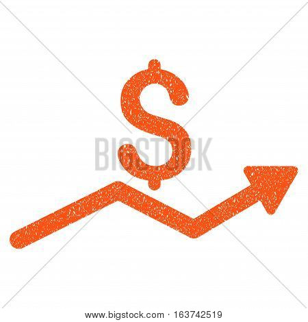 Sales Trend grainy textured icon for overlay watermark stamps. Flat symbol with dirty texture. Dotted vector orange ink rubber seal stamp with grunge design on a white background.
