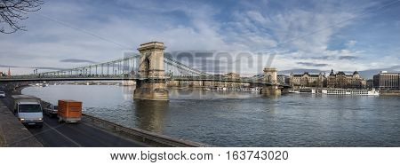 Budapest, Panoramic View Of Chain Bridge On The Danube River And The City Of Pest