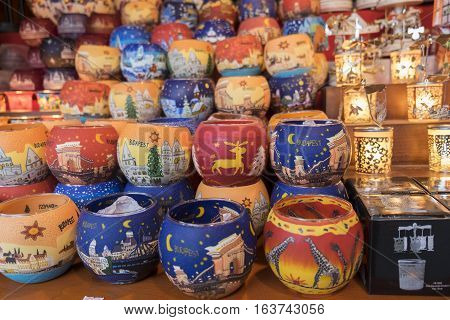Christmas Souvenirs Painted Candle Holders For Sale At Tradition Christmas Market In Budapest, Hunga