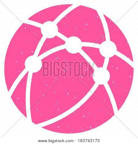 Browser grainy textured icon for overlay watermark stamps. Flat symbol with scratched texture. Dotted vector pink ink rubber seal stamp with grunge design on a white background.