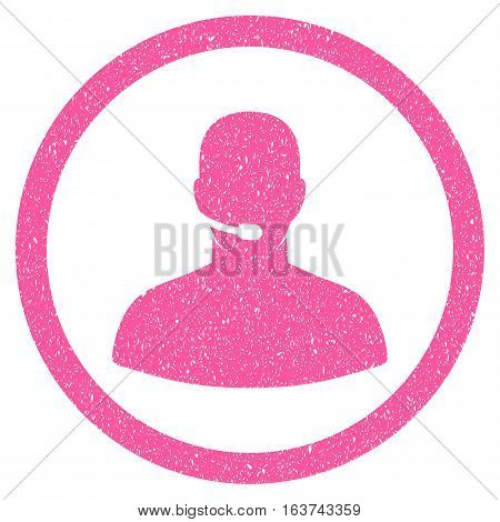Call Center Operator grainy textured icon for overlay watermark stamps. Flat symbol with dirty texture. Dotted vector pink ink rubber seal stamp with grunge design on a white background.