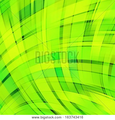 Vector Illustration Of Neon Green Abstract Background With Blurred Light Curved Lines. Vector Geomet