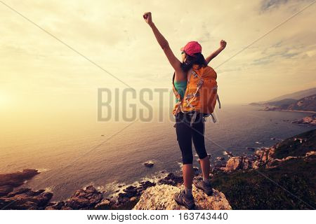 successful hiker hiking on seaside mountain peak rock
