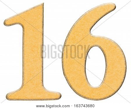 16, Sixteen,numeral Of Wood Combined With Yellow Insert, Isolated On White Background