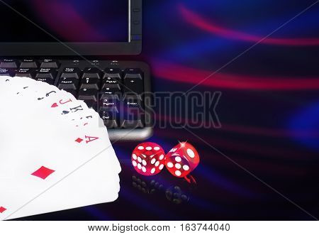 Cards, Dice Beside The Keyboard. Online Card Games Concept