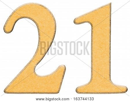 21, Twenty One, Numeral Of Wood Combined With Yellow Insert, Isolated On White Background