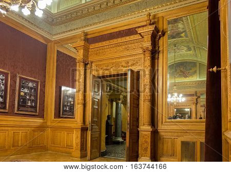 BUDAPEST HUNGARY - DECEMBER 9 2016: Interior of the Hungarian Royal State Opera House