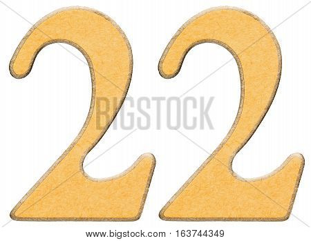22, Twenty Two, Numeral Of Wood Combined With Yellow Insert, Isolated On White Background