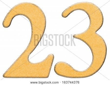 23, Twenty Three, Numeral Of Wood Combined With Yellow Insert, Isolated On White Background