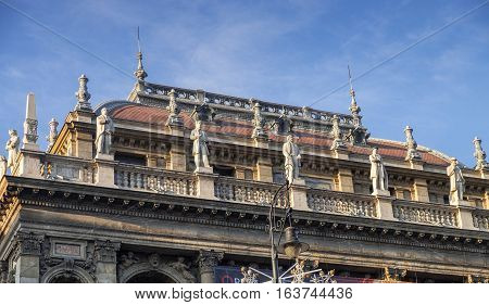 Statues on Budapest Opera House roof. Hungary poster