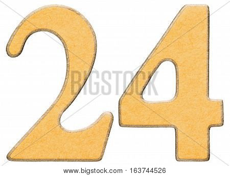 24, Twenty Four, Numeral Of Wood Combined With Yellow Insert, Isolated On White Background