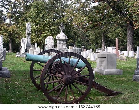 Arlington USA - October 18 2004: Cannon Headstone in Arlington National Cemetery.