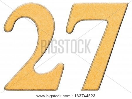 27, Twenty Seven, Numeral Of Wood Combined With Yellow Insert, Isolated On White Background