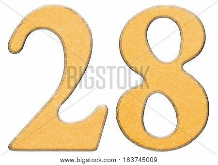 28, Twenty Eight, Numeral Of Wood Combined With Yellow Insert, Isolated On White Background