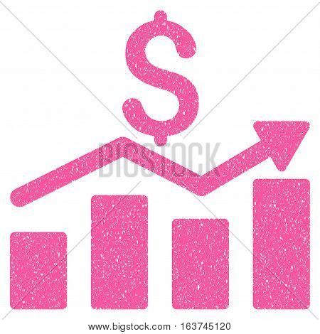 Sales Chart grainy textured icon for overlay watermark stamps. Flat symbol with dust texture. Dotted vector pink ink rubber seal stamp with grunge design on a white background.