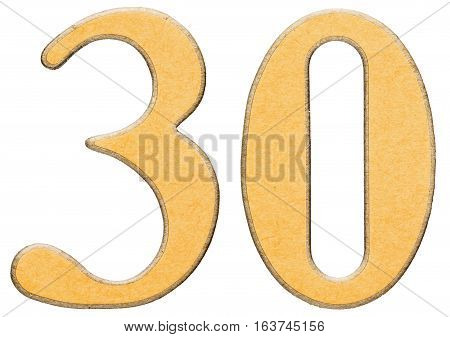 30, Thirty, Numeral Of Wood Combined With Yellow Insert, Isolated On White Background