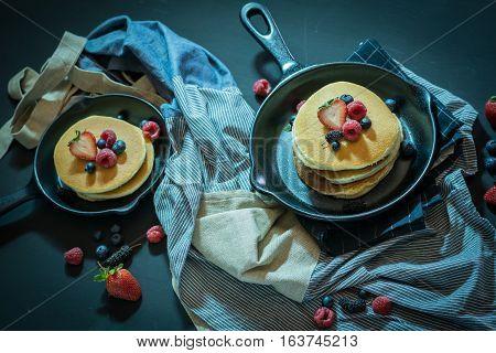 Pancake With Fresh Fruit And Berry Stack On Pan Fot Breakfast