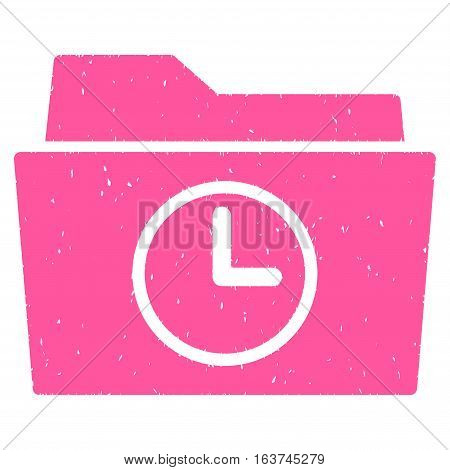 Temporary Folder grainy textured icon for overlay watermark stamps. Flat symbol with scratched texture. Dotted vector pink ink rubber seal stamp with grunge design on a white background.