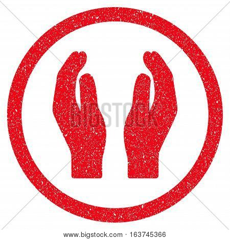 Applause Hands grainy textured icon for overlay watermark stamps. Flat symbol with unclean texture. Dotted vector red ink rubber seal stamp with grunge design on a white background.