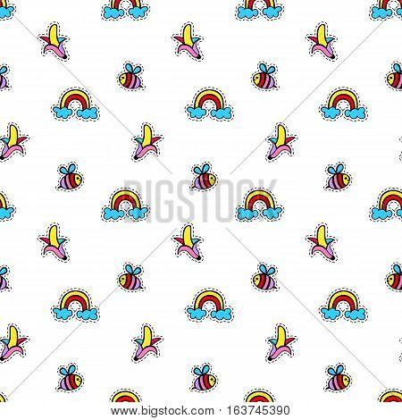 Seamless pattern with fashionable patch badges set with bee, banana, rainbow, isolated on white background. Kids stickers, pins, patches doodle in cartoon 80s-90s style. Vector illustration