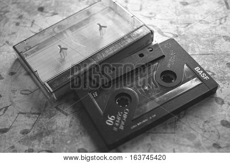 Vintage photograph of a old cassette with cover
