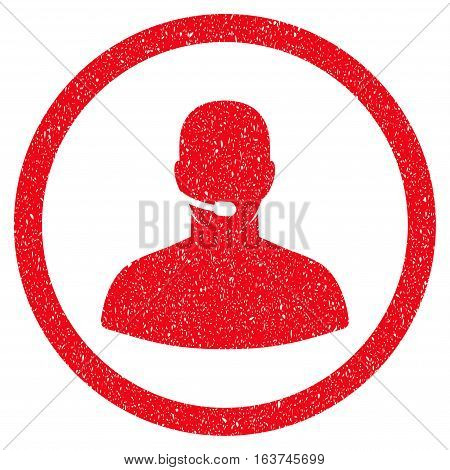 Call Center Operator grainy textured icon for overlay watermark stamps. Flat symbol with dust texture. Dotted vector red ink rubber seal stamp with grunge design on a white background.