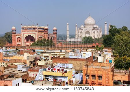 Rooftops Of Taj Ganj Neighborhood And Taj Mahal In Agra, India