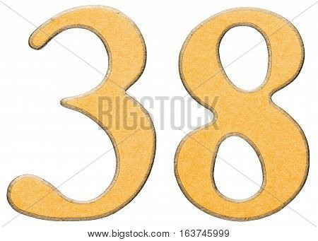 38, Thirty Eight, Numeral Of Wood Combined With Yellow Insert, Isolated On White Background