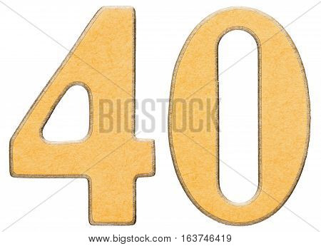 40, Forty, Numeral Of Wood Combined With Yellow Insert, Isolated On White Background
