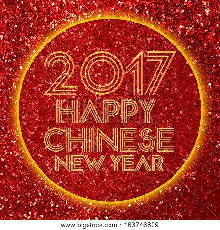 Happy Chinese new year 2017 card on red glitter background