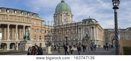 Panoramic View Of The Royal Palace (buda Castle). Castle Hill District (varhegy), Buda, Budapest, Hu