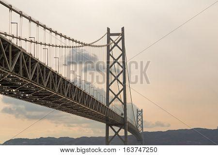 Akashi Kaikyo Bridge in Kobe, Japan, the longest suspension bridge